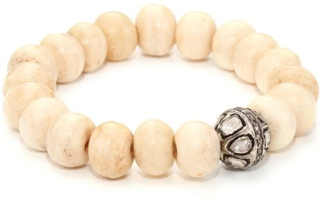 Borgioni Rose Cut Vintage Ball on Creamy Bone Beaded Bracelet