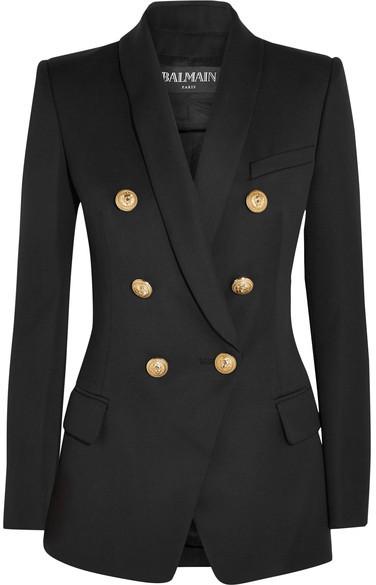 BalmainBalmain - Double-breasted Wool Blazer - Black