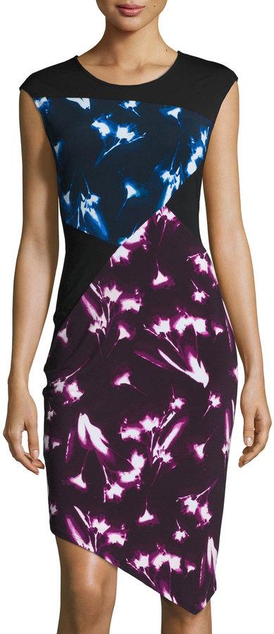 BCBGMAXAZRIABCBGMAXAZRIA Printed Jersey Asymmetric Sheath Dress, Mahogany