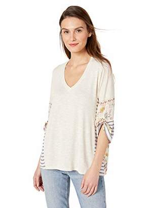 Democracy Women's 3/4 Sleeve Mixed Media V Neck Top