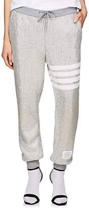 Thom Browne Women's Faceted-Jewel Cotton Jogger Pants - Silver