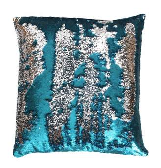Marlo Lorenz Thro By THRO by Melody Mermaid Reversible Sequins Faux Linen Throw Pillow