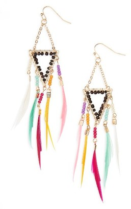 Women's Panacea Crystal Feather Shoulder Duster Earrings $18 thestylecure.com