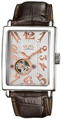 Gevril Men's Avenue of Americas Intravedre Embossed Leather Strap Watch, 44mm