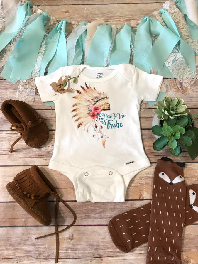 Etsy New to the Tribe Onesie®, Baby Girl Clothes, Boho Baby Clothes, Baby Shower Gift, Boho Onesies, Cute