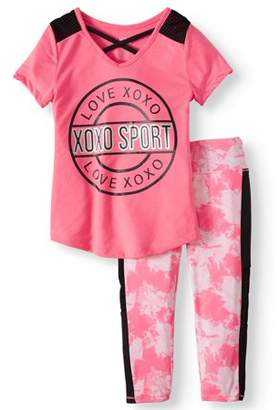 XOXO Sport Love Mesh Insert Top and Performance Capri Legging, 2-Piece Active Set (Little Girls & Big Girls)