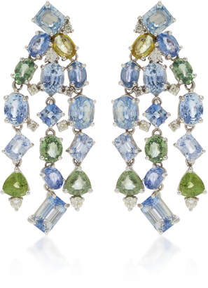 Gioia 18K White Gold And Sapphire Chandelier Earrings