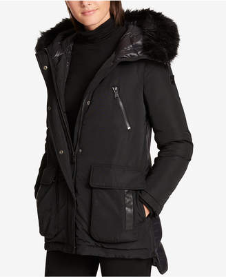 DKNY Faux-Fur-Trim Quilted-Back Puffer Coat