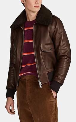 Ami Alexandre Mattiussi Men's B-1 Leather & Shearling Bomber Jacket - Brown