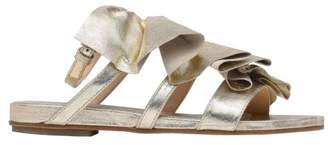 Vic Matié Vic Matie' Gold Flat Sandal With Ruches