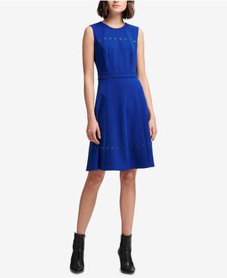 DKNY Grommet-Trim A-Line Dress