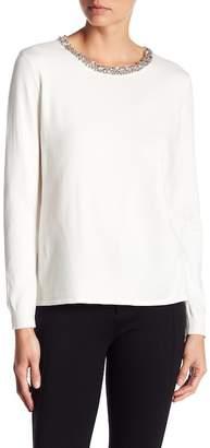Love Token Knit Embellished Neck Long Sleeve Top