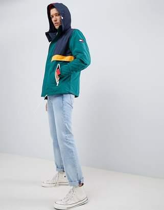 Tommy Hilfiger multi colourblock lightweight hooded parka sleeve flag logo in green multi