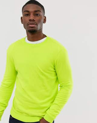 Asos Design DESIGN cotton sweater in neon green