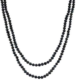 Splendid Pearls Endless 7-8mm Black Freshwater Pearl Necklace