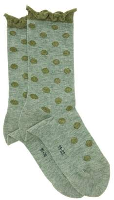 Falke Dotty Flounced Cuff Socks - Womens - Green