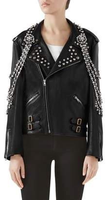 Gucci Back Logo Crystal Embellished Biker Jacket