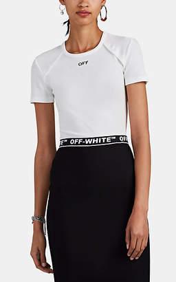 Off-White Off - White c/o Virgil Abloh Women's Logo Rib-Knit Cotton T-Shirt - White
