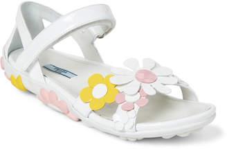 Prada White Floral-Applique Leather Sandals