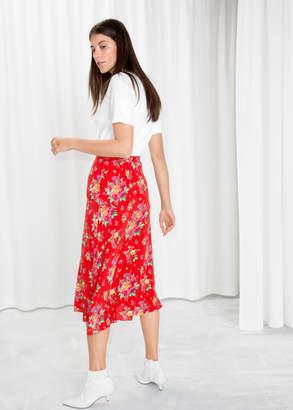 Asymmetrical Floral Midi Skirt