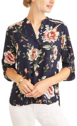 Cure Women's Floral Ladder Stitch Trim Popover Shirt