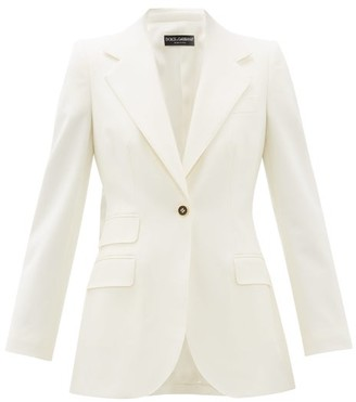 Dolce & Gabbana Single Breasted Virgin Wool Blend Crepe Blazer - Womens - White