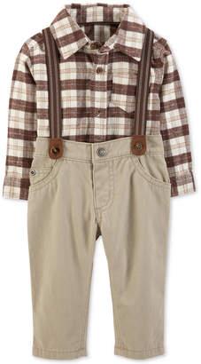Carter's Carter Baby Boys 2-Pc. Plaid Bodysuit & Suspender Pants Set