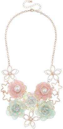 clear Decree Womens Brass Statement Necklace