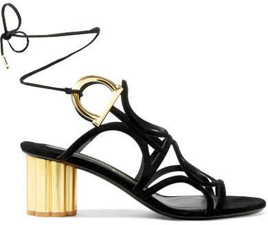 Salvatore Ferragamo - Vinci Cutout Suede Sandals - Black