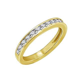 Swarovski La Lumiere Yellow Gold Plated Sterling Silver Zirconia Baguette Half Eternity Band Ring