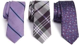 The Tie Bar Purple Trend Set of 3 Skinny Silk Ties