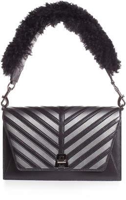 Akris Anouk Small City Oversize-Herringbone Shoulder Bag with Fur Strap