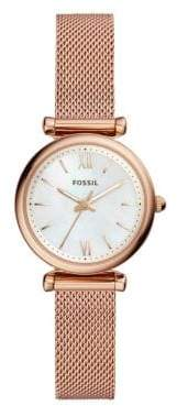 Fossil Carlie Three-Hand Stainless Steel Bracelet Watch