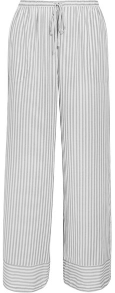 DKNY DKNY - Striped Stretch-jersey Pajama Pants - Light gray