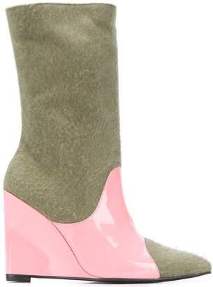 Leandra Medine colour block wedge boots