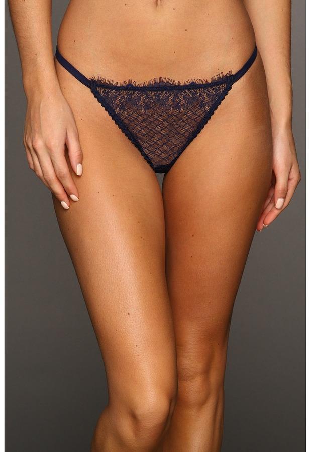 Calvin Klein Underwear Eyelash Chantilly Lace Thong (Blue Night) - Apparel