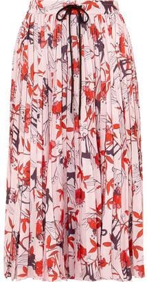 Markus Lupfer Coby Pleated Printed Crepe Midi Skirt - Pink
