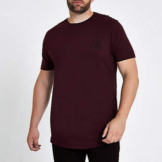 River Island Big and Tall red muscle fit curve hem T-shirt