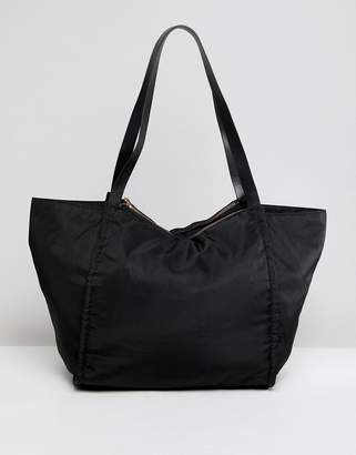 Asos Design DESIGN lightweight shopper bag with double compartments