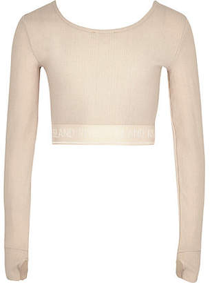 River Island Girls RI Active pink metallic crop top