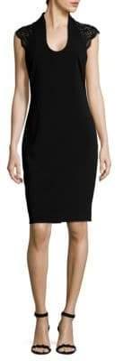 Badgley Mischka Beaded Knee-Length Dress