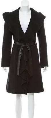 Just Cavalli Wool Ruffle-Trim Coat