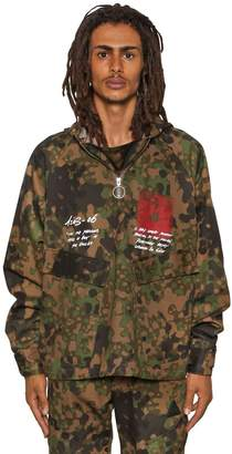 Off-White Hooded Camo Printed Tech Zip-Up Jacket