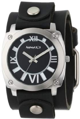 Nemesis Men's GB066K Roman Numeral Collection Black on Black Leather Band Watch