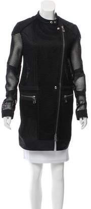 Belstaff Open-Knit Zip-Up Coat