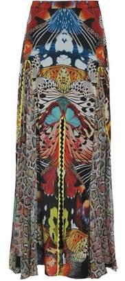 Roberto Cavalli Fluted Printed Silk-Georgette Maxi Skirt