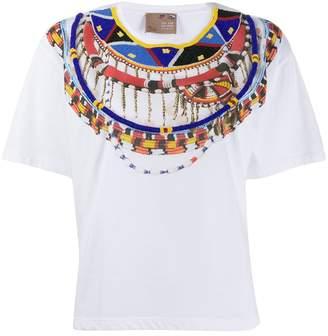 Pinko x stella jean hashtag embroidered T-shirt