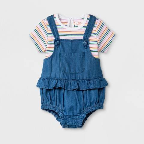 Cat & Jack Baby Girls' Bodysuit and Bloomer Set - Cat & Jack Medium Denim Wash