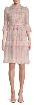 Needle & Thread Lustre Ruffle Fit--Flare Dress