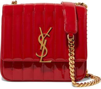 Saint Laurent Vicky Medium Quilted Patent-leather Shoulder Bag - Claret